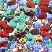 Czech 2 Hole Superduo Beads, 2.5 x 5mm Glass Beads Crown Jewels